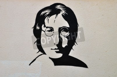 Poster ATENE, GRECIA - 30 agosto 2014: John Lennon ritratto stencil graffiti arte urbana sulla parete strutturata.