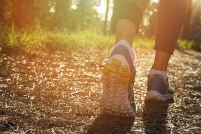 Poster Athlete runner feet running in nature, closeup on shoe. Woman fitness jogging, active lifestyle concept