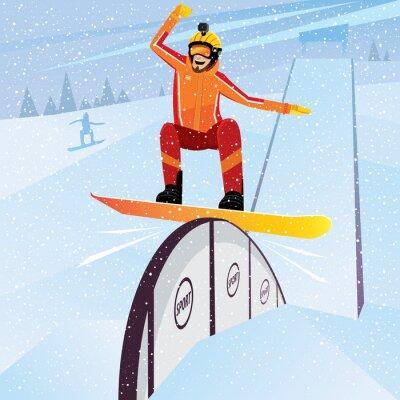 Poster atleta estremo scende dalla montagna su uno snowboard