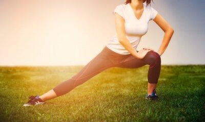 Poster Atleta ragazza - esercizio atleta al di fuori, fitness donna