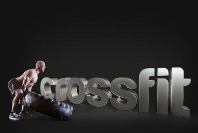 Poster Atletico giovane uomo di sollevamento di un pneumatico su sfondo nero frasi di fitness motivazionali