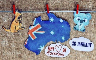 Poster Australia Day Concept - saluto scritto attraverso bianco mappe australiani, canguri e koala - appendere pioli (molletta), 26 gennaio. immagine tonica. effetto luce solare