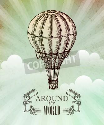 Poster avventura aeronautica. Vettoriale illustrazione d'epoca con palloncino 10 EPS