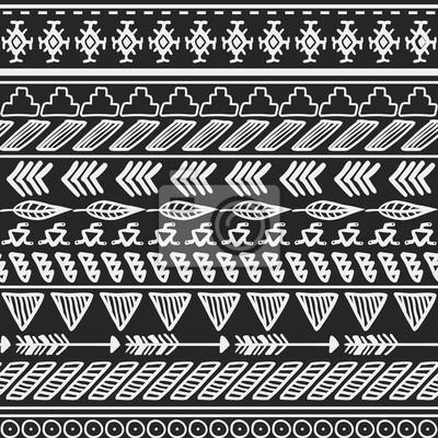 Aztec Seamless Etnica Sfondo Bianco E Nero Tribale Manifesti Da