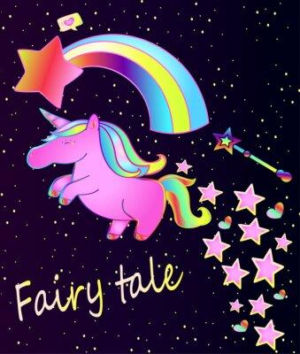 Poster Baby poster-cute unicorno rosa con arcobaleno su un bellissimo sfondo sfumato con stelle e cuori