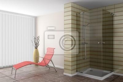 Bagno Marrone Moderno : Bagno moderno con divano rosso e vaso marrone manifesti da muro