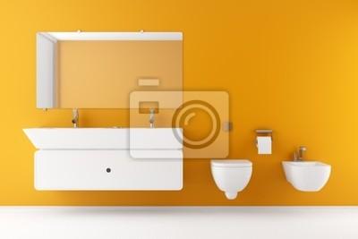 Bagno moderno con muro arancione e attrezzature bianco manifesti