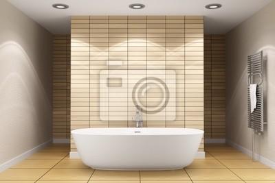 Bagno moderno con piastrelle beige sulla parete e pavimento