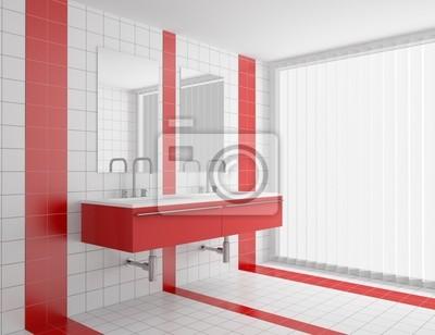 Bagno moderno con piastrelle bianche e rosse sulla parete e