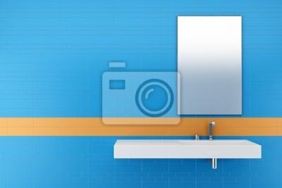 Bagno moderno con piastrelle blu e arancione sul muro manifesti da