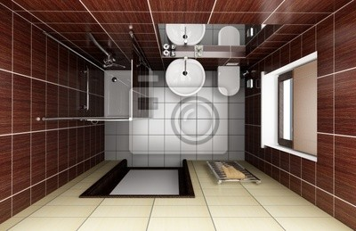 Bagno Marrone Moderno : Bagno moderno con piastrelle marrone. vista dallalto manifesti da