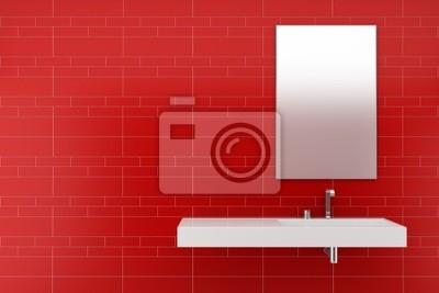 Bagno moderno con piastrelle rosse sulla parete manifesti da muro