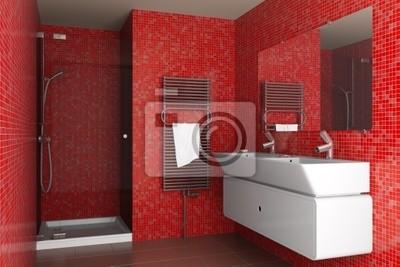Bagno moderno con tessere di mosaico rosso sulla parete manifesti
