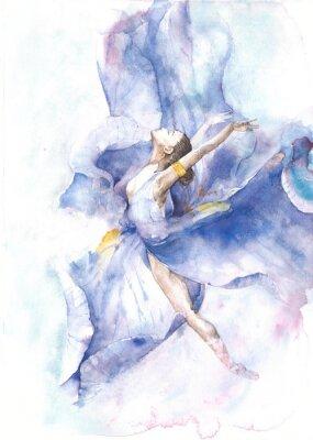 Poster Ballerina di danza pittura ad acquerello isolato su sfondo bianco biglietto di auguri