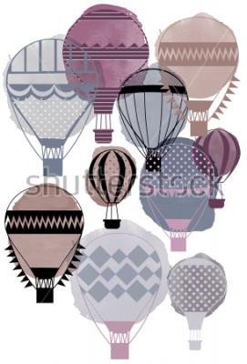 Poster Baloons dell'aria di vettore dell'acquerello