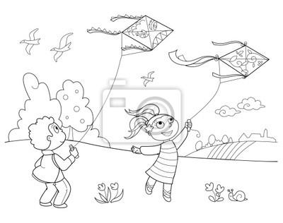 Bambini Che Giocano Con Gli Aquiloni Manifesti Da Muro Poster