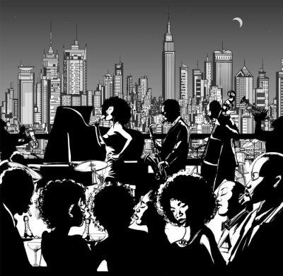 Poster Banda di musica jazz esibendosi in New York