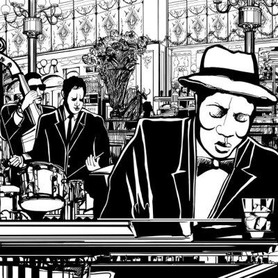 Poster banda di piano-jazz in un ristorante