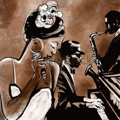 Poster Banda jazz con cantante, sassofono e pianoforte - illustrazione vettoriale