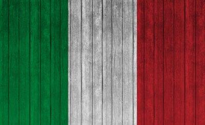 Poster Bandiera Italia sul vecchio sfondo di legno