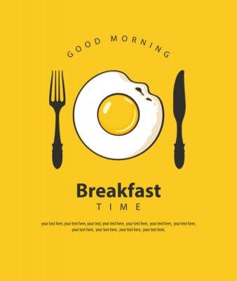 Poster Banner vettoriale sul tema dell'ora della colazione con uovo fritto, forchetta e coltello su sfondo giallo con posto per il testo in stile retrò