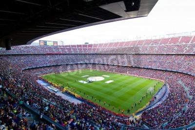 Poster BARCELLONA, SPAGNA - 13 maggio 2011: i sostenitori non identificati FC Barcellona festeggiare la vittoria spagnola Championship League al Camp Nou stadio.