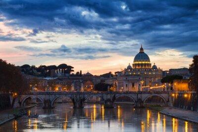 Poster Basilica di San Pietro al tramonto