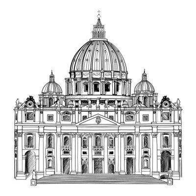 Poster Basilica di San Pietro, Roma, Italia. L'architettura del Vaticano.