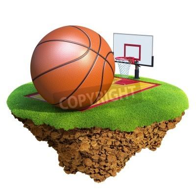 Poster Basket ball, tabellone, cerchio e Foro basato sul piccolo pianeta. Concetto per la squadra di basket o di progetto di concorso. Piccolo collezione / pianeta Islanda.