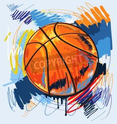 Poster basket disegno colore di sfondo