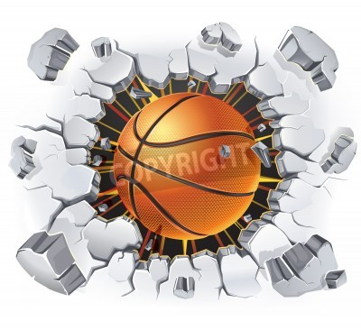 Poster Basketball and Old Plaster wall damage   illustration
