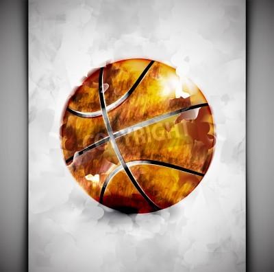 Poster Basketball ball in stile acquerello