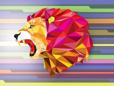 Poster Basso poligono Llion motivo geometrico su sfondo-astratto Vect