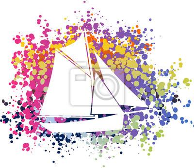 Poster Bateau, Voilier coloré
