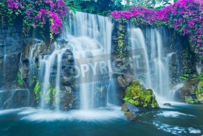 Poster Beautiful Blue Waterfall in Hawaii
