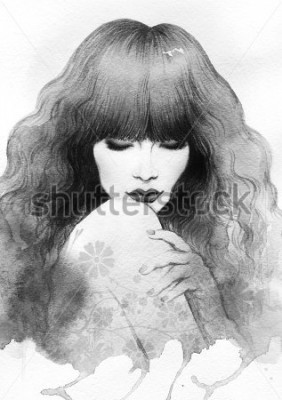 Poster Beautiful woman. watercolor illustration