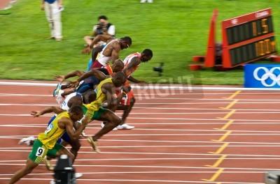 Poster Beijing, China - Aug 16, 2008:, Olympics,  Usain Bolt breaks away in the 100 meter race for Men