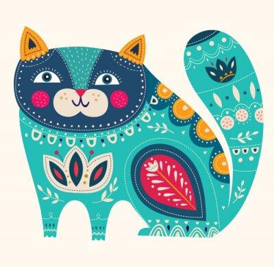 Poster Bella decorazione vettore gatto in colore blu