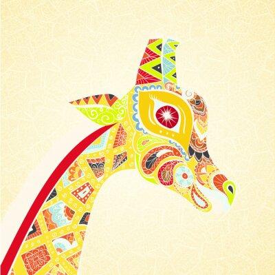 Poster Bella donna adulta di giraffa. Disegnato a mano Illustrazione della giraffa ornamentale. giraffa colorato su sfondo ornamentale.