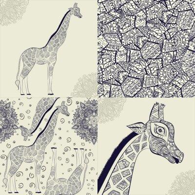 Poster Bella donna adulta di giraffa. Disegnato a mano Illustrazione della giraffa ornamentale. giraffa isolato su sfondo bianco. Seamless da una giraffa ornamentali