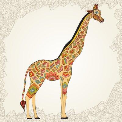 Poster Bella donna adulta di Giraffe in Boho. Disegnato a mano Illustrazione della giraffa ornamentale. giraffa colorato su sfondo ornamentale.
