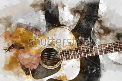 Poster Bella donna astratta che gioca chitarrista nella priorità alta. Descritta in su, priorità bassa della pittura dell'acquerello e spazzola dell'uso di Digitahi ad arte.