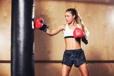 Poster Bella donna boxe con i guanti rossi