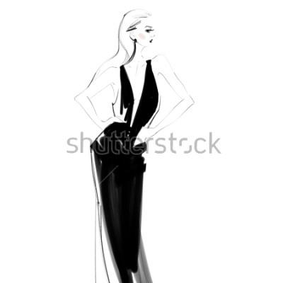 Poster Bella donna nel disegno isolato vestito nero. Ragazza di Glamour Schizzo di moda.