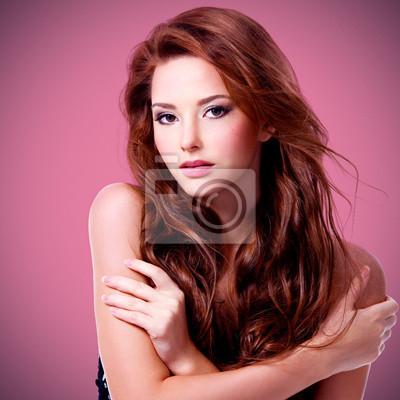 Bella donna sexy con capelli lunghi marrone manifesti da muro ... b0c94aeef45f