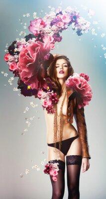 Poster bella grandi fiori donna sexy e