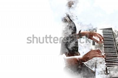 Poster Bella mano astratta che gioca tastiera della priorità alta del piano Fondo della pittura dell'acquerello e spazzola dell'illustrazione di Digital ad arte.