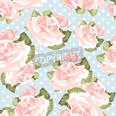 Poster Bella seamless rosa con polka dot blu, illustrazione vettoriale