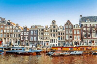 Poster Bella vista sui canali di Amsterdam con ponte e tipico olandese