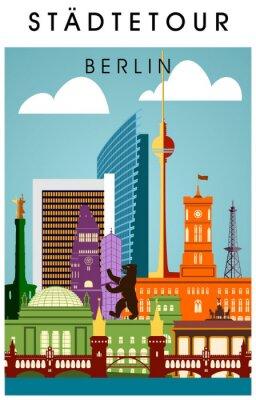 Poster Berlin Monete bunt mit wichtigen Sehenwürdigkeiten hochkant Sagoma Panorama